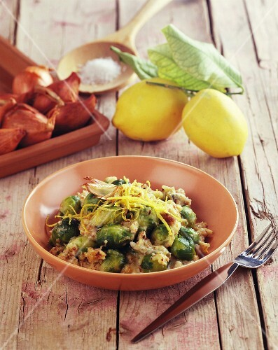 Brussels sprouts with gorgonzola and lemon zest