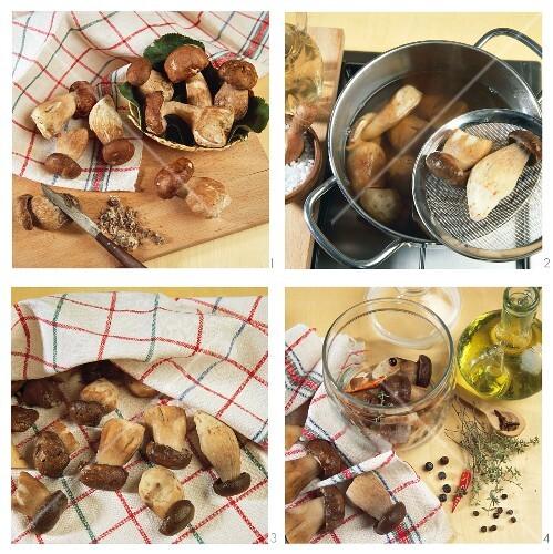 Porcini mushrooms being preserved in olive oil