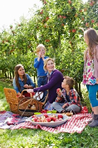 Mutter und Kinder beim Picknick