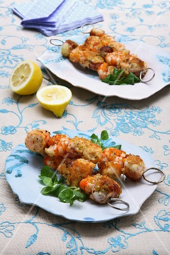 Fish and prawn kebabs