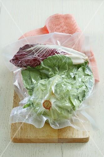 Lettuce and radicchio, vacuum-packed