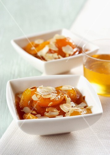 Caramelised apricots with sliced almonds