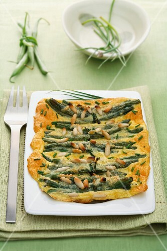 A green bean and pine nut omelette