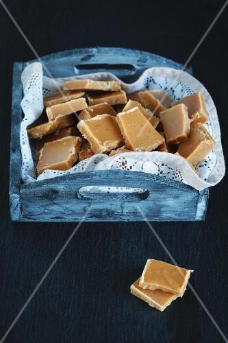Homemade cream bonbons made of milk and sugar