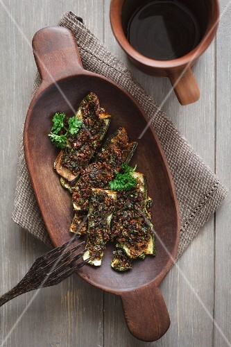 Roasted courgette marinated in chermoula