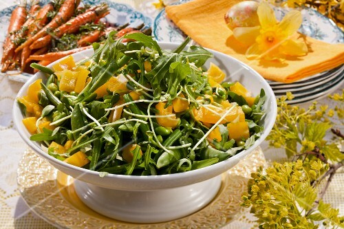 Green bean salad on an Easter buffet (Sweden)