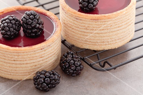 Small Baumkuchen (German layer cakes) with blackberry filling, with fresh blackberries and a cooling rack