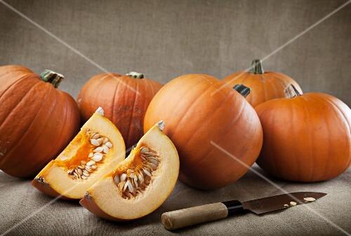 Whole pumpkins and pumpkin wedges