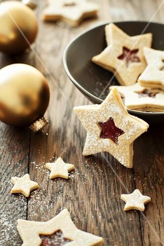 Jam Filled Christmas Star Cookies