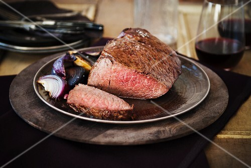 Grass Fed London Broil Roast; Sliced with Red Onions