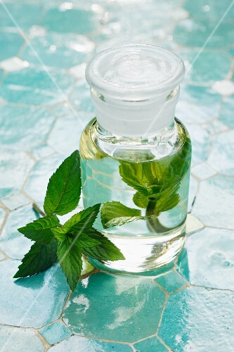 A bottle of peppermint oil and fresh mint