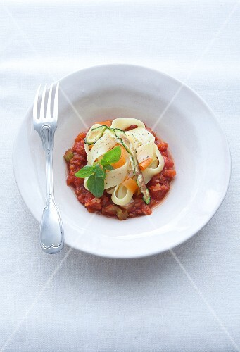 Ribbon pasta with vegetable sauce