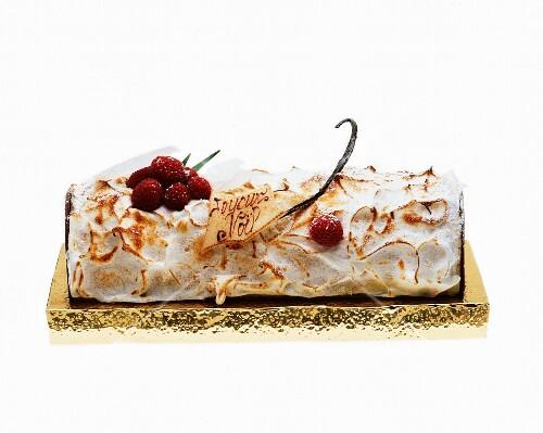 Buche De Noel (French Christmas cake) with meringue