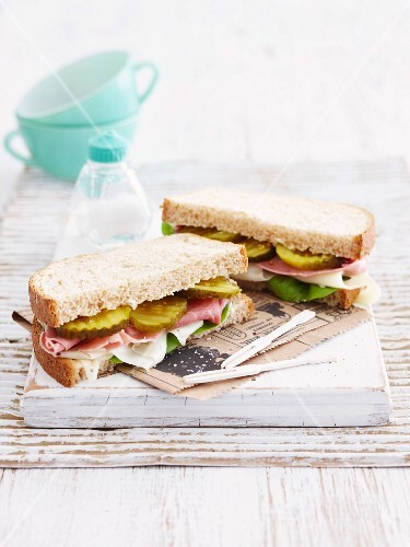 Ham, cheese, gherkin and lettuce sandwich