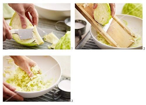 White cabbage being prepared