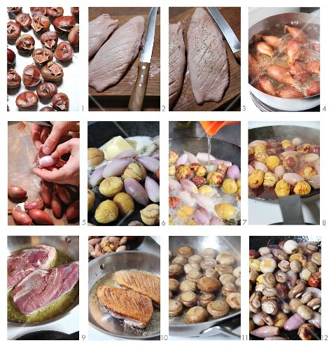 Duck breast with mushrooms, shallots and chestnuts being made