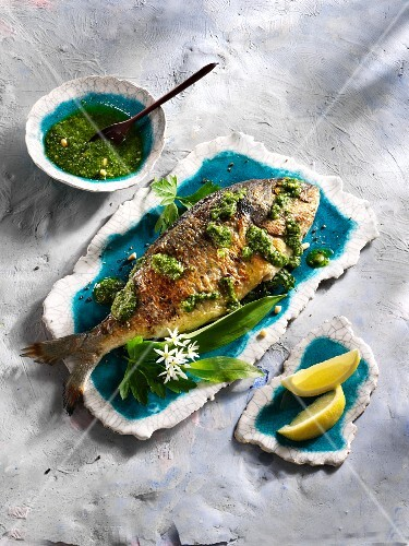 Fried bream with ramson pesto