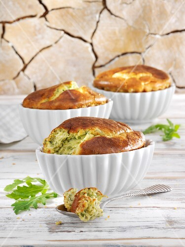 Cheese souffle with rocket