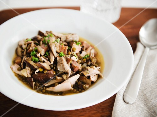 A Bowl of Chicken, Lentil and Mushroom Soup