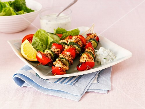 Summery chicken and vegetable kebabs