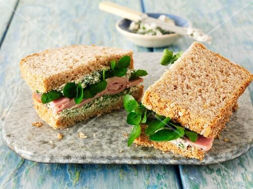 Ham sandwich with watercress