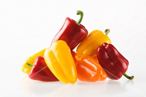 Red, yellow and orange peppers