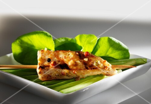 A sate kebab with lemongrass and peppercorns