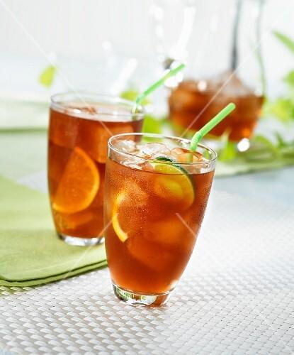 Iced tea with lemons and limes
