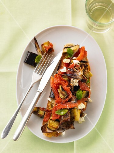 Bruschetta topped with oven-roasted vegetables