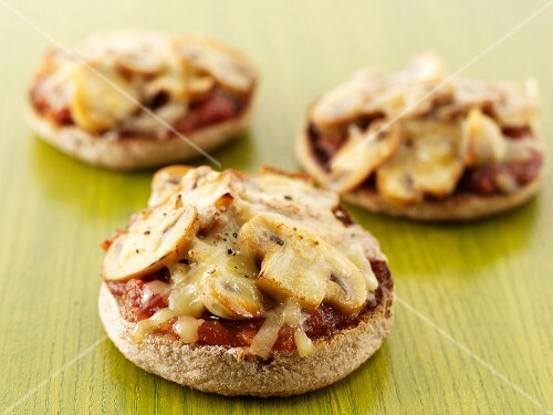 Mini mushroom and cheese pizzas