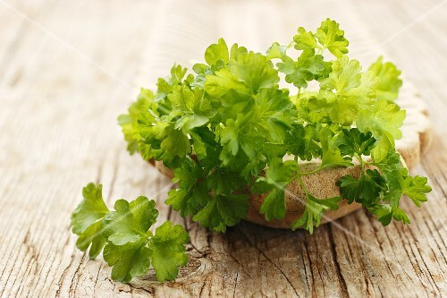 Parsley in a stone bowl