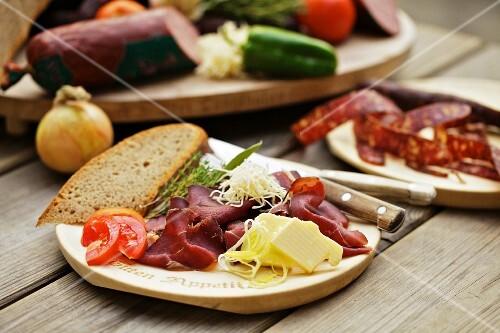 Supper with venison ham