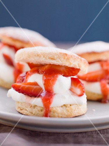 Strawberry shortcakes on a plate