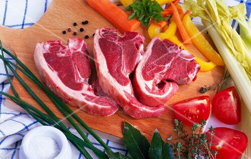 Lamb chops, fresh vegetables, herbs and spices