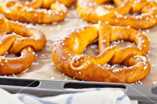Pretzels on a baking tray