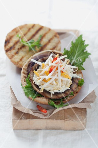 Portobello burger with mango salsa
