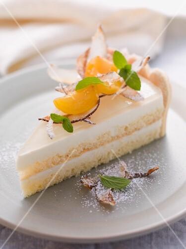 A slice of coconut and yoghurt tart