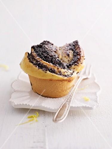 A poppy seed cupcake