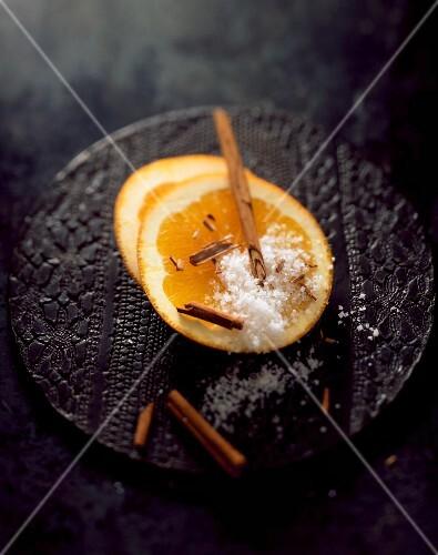 Orange slices with cinnamon and salt
