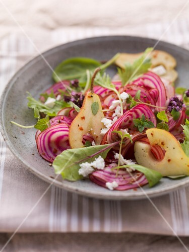 An autumnal vegetable salad with pears