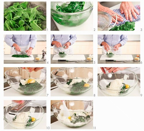 A spinach and ricotta filling being made