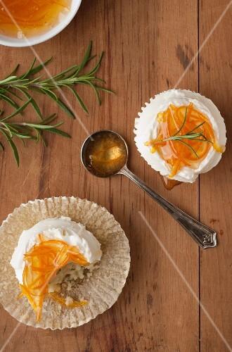 Orange Marmalade Rosemary Cupcakes