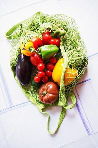 An arrangement of vegetables in a shopping net