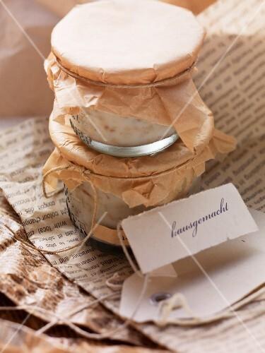 Homemade remoulade in jars