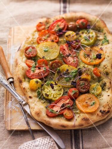 A rustic tomato pizza