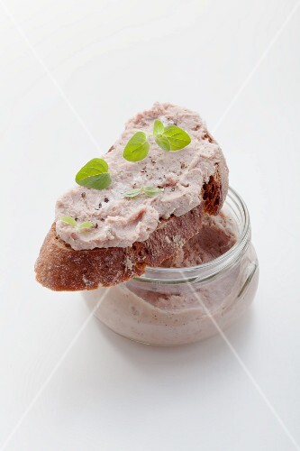 Liver sausage in jar and on bread