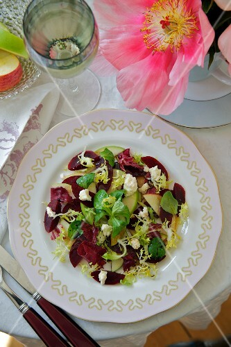 Beetroot salad with apple and Wensleydale cheese