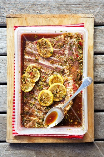 Pork ribs in a honey & soy marinade, with lemons