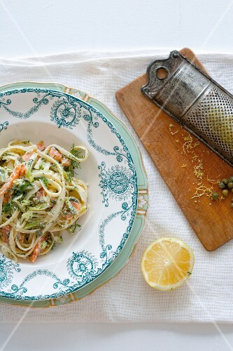 Ribbon pasta with smoked salmon, asparagus and dill