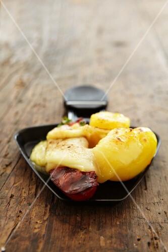 Potato Raclette with chorizo